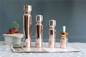 metallic glass foundation lotion pump bottle for cosmetic from guangzhou show commodity co ltd