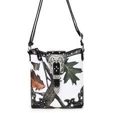 white leaves and trees cross body messenger bag black