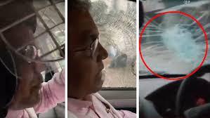 மேற்குவங்க பாஜக தலைவர் திலீப்கோஷ் வாகனத்தின் மீது தாக்குதல்