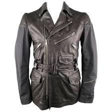 men s burberry brit jacket 40 black nylon leather biker style trench coat
