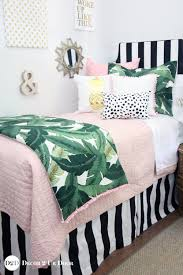 palm leaf black white blush pink quilt designer dorm bedding set