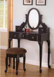 black makeup vanity table set w bench