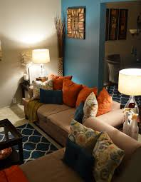 Orange Sofa Living Room Living Room Accent Pendant Lighting Orange Sofa Floral Pattern