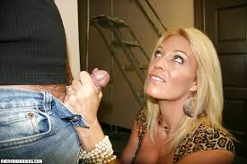 Large older blonde handjob