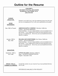 Outline Sample Resume Outline Example Beautiful Resume Outline Examples Resume 20