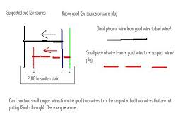 windshield wiper fluid no go think i found issue pics sorry for the paint diagram if i take two small wires from the good 12v source and put them on the two suspect wires would that push the 12v s through
