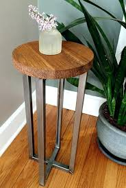 fashionable metal and wood side table round side table on patio side table unique side tables