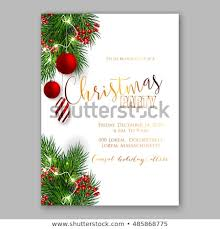 Template For Christmas Party Invitation Christmas Party Invitation Template Background Fir Stock Vector
