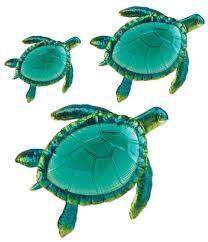 ocean sea turtles metal glass wall art sculptures tropical home decor set of 3