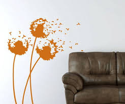 Small Picture Abstract Orange Flowers Wall Murals in Bedroom Wall Art Decor