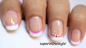 Easy French Nail Designs Pink Flower Cute French Tip Nail Designs