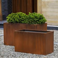 rust planter box. Modren Planter Box IndoorOutdoor Planter  Rust Steel Set Of 2 In