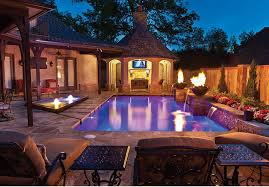 home swimming pools at night. Pool With Fire Features At Night Baker Pools OK Aquatech Home Swimming L