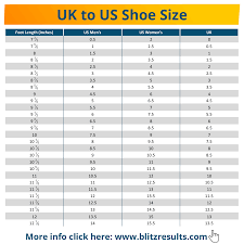 Uk To Us Shoe Size Conversion Charts For Women Men Kids