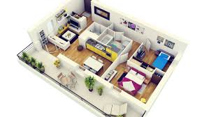 50 3d floor plans lay out designs for 2 bedroom house or apartment regarding houseplansdesigns2