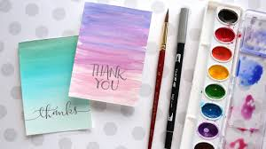 Watercolor thank you cards Watercolor Flowers Youtube Easy Diy Thank You Cards ombré Watercolor Youtube