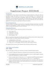 Transformer Design Parameters Transformer Project 2018 Eee2044s Uct Studocu
