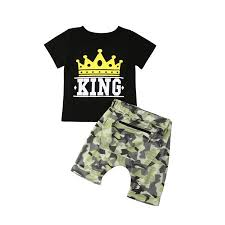 Newest Fashion Toddler Baby Kid Boys Summer King Tops T Shirt Camo Pants Outfits Set Clothes
