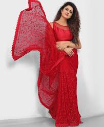 Red Net Dress Design Bollywood Style Red Net Embroidered Saree
