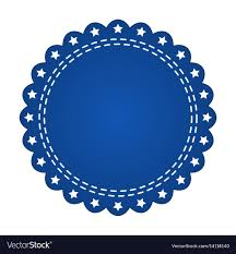 Blue Ribbon Design Embroidered Blue Round Ribbon Stamp Isolated On