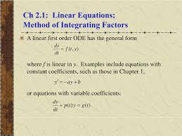 ch 2 1 linear equations method of integrating factors l