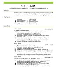 resume for general manager