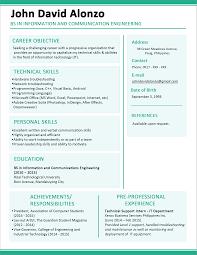 Sample Format For Resume Sample Resume Format For Fresh Graduates