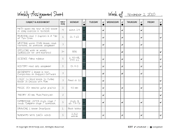 Assignments Online For Free Homeschool Weekly Assignment Planner The