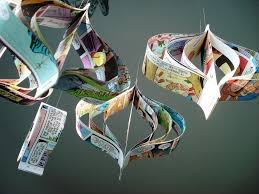 Paper Decorations Christmas Handmade Comic Book Upcycled Paper Decorations Christmas