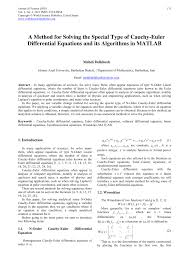 a method for solving the special type of cauchy euler diffeial equations and its algorithms in matlab pdf available