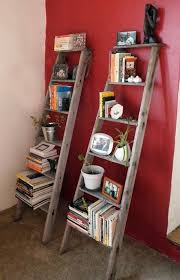 Old ladder cut in half turned to 2 ladder shelves
