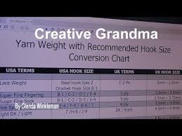 Creative Grandma Yarn Hook Size Chart Crochet Stitches