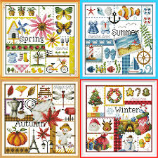 Embroidery Chart Us 5 08 55 Off Joy Sunday Spring Summer Autumn Winter Map Cross Stitch Pattern Kits Handcraft Make Embroidery With Chart In Package From Home