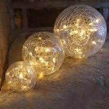 glass ball lighting. Warm White LED Pre Lit Glass Crackle Balls (Set Of 3) Ball Lighting O