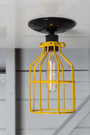 industrial cage lighting. Industrial Lighting - Yellow Cage Light Ceiling Mount