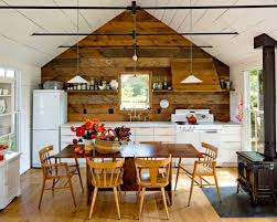 Country single-wall eat-in kitchen photo in Portland with white appliances,  flat