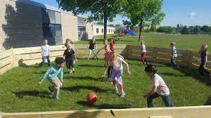 cabrini students use their new gaga ball pit for the first time