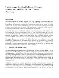 publications  mainstreaming social and solidarity economy opportunities and risks for policy change