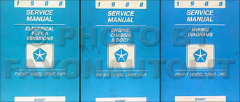 plymouth reliant service manuals shop owner maintenance and 1988 mopar fwd car repair manual 3 vol set