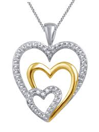 jewelry unlimited two tone gold plated triple heart diamond pendant 0 03ct com