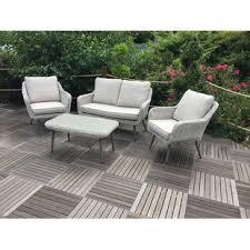 alita 4 seater rattan effect sofa set with cushions