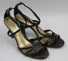 details about antonio melani las womens black leather strappy heels shoes size 9m