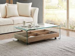 modern furniture living room. Orion Storage Coffee Table In Clear Glass And Wood Effect Finish Modern Furniture Living Room