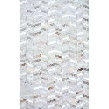 nuloom area rugs handmade modern patchwork herringbone leather viscose silver rug 8 ft x