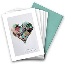 Elegant Sea Glass Heart Note Cards Love 3 5x5 8 Blank Folded Cards With Matching Envelopes Unique Birthday Cards Great Thank You Notes
