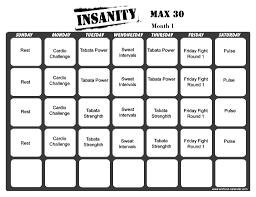 30 Day Beachbody Challenge Chart Insanity Max 30 Workout Calendar Print A Workout Calendar