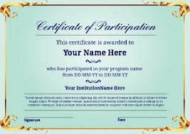Certificate Of Participation Templates Blue Certificate Of Participation Printable