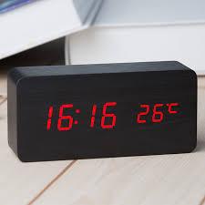 digital led wooden alarm clock