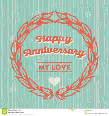 Template Anniversary Card Happy Anniversary Card Stock Vector Illustration Of Lovers