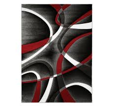 picture of doah grey red accent rug